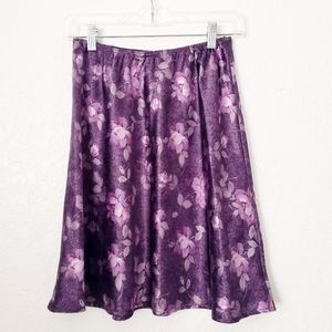 Vintage 90s Y2K Purple Floral A-Line Mini Skirt